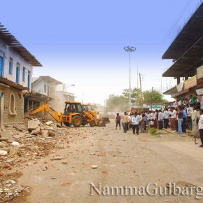 Gulbarga City Corporation back with bulldozers - demolished From N V College campus to SB temple
